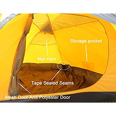 Geertop 4 Person 3 Season Double Layer Tent Yellow