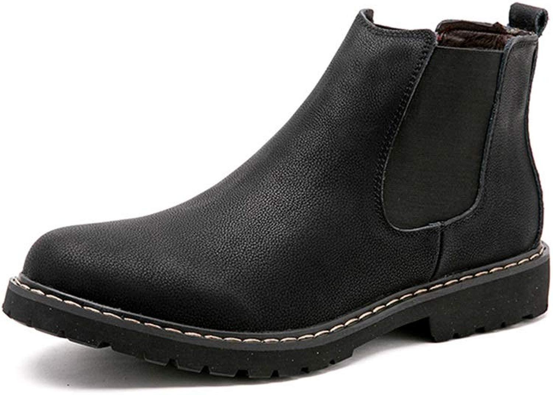Chelsea-Stiefel für für Herren Stiefeletten Comfort Fleece Inside Schuhe Oberleder Slip On rutschfeste Elastic Wear Resistant,Grille Schuhe (Farbe   Schwarz, Größe   46 EU)  Werbeartikel