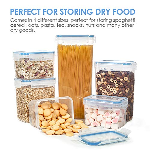 Vtopmart Airtight Food Storage Containers Set with Lids, 15pcs BPA Free Plastic Dry Food Canisters for Kitchen Pantry Organization and Storage, Dishwasher safe,Include 24 Labels, Blue