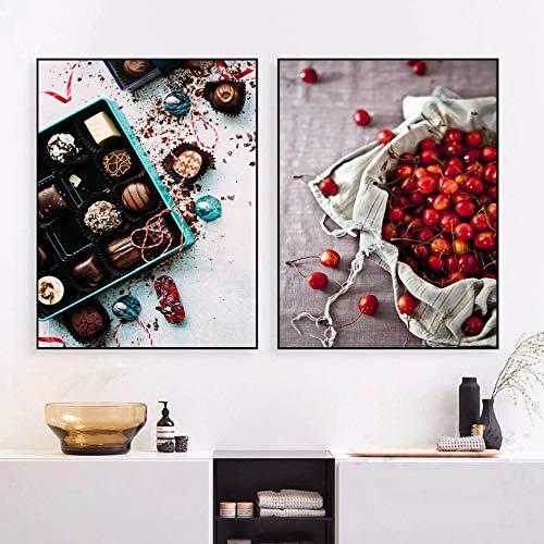 KWzEQ Cherry Lemon Coffee Nordic Chocolate Carteles e Impresiones Arte de la Pared Sala de Estar Cafe-Frameless painting60X80cmx2