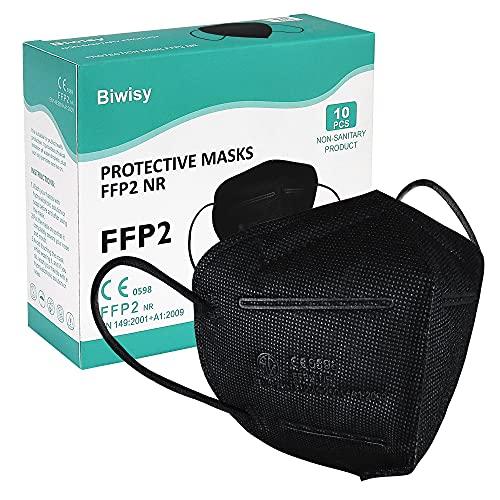 Biwisy FFP2 / KN95 10 STÜCKE Schwarz Atemschutzmaske Staubmaske Atemschutzmaske 10 STÜCKE Einweg-Atemschutzmasken-Sicherheitsmasken-zertifiziert CE0598-EU 2016/425