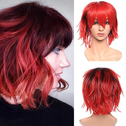 Perruque Femme Deguisement Cosplay Cheveux Court Femme Homme Fibre Synthetique Costume Unisex Halloween Carnaval - Noir Naturel Ombre Vin Rouge Foncé