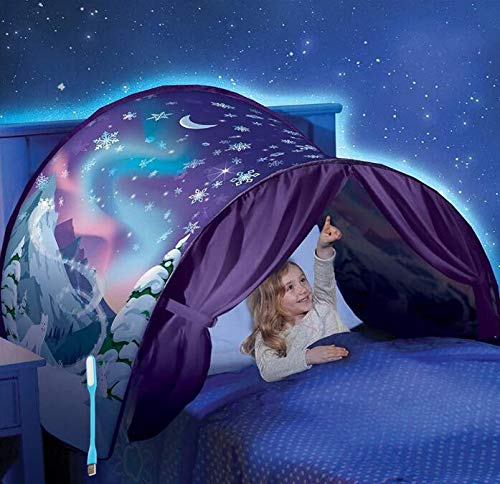 Tenda Per Letto Bambini Tende da Sogno Tenda da Gioco Tenda Pop-up Tenda Gioco Bambino per Interni ed Esterni Tenda Portatile con Borsa da Trasporto, Regalo per Bambini (Fiocco di neve)