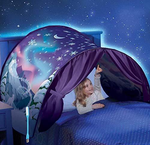 Children's Tents Bed Tents Game Tents Indoor Pop-up Tent Fun Play Tent Space Adventure Tents-Indoor/Outdoor Playhouse for Girls Boys (Snowflake)