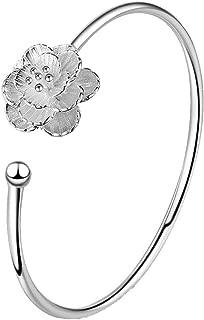 Open Cuff Bangle Bracelet Female Stainless Steel Flower Shape (Color : Silver)
