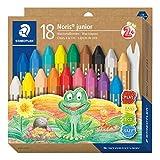 STAEDTLER 224 C18 Noris - Pastelli a cera spessa per bambini, confezione da 18 colori assortiti in scatola di cartone