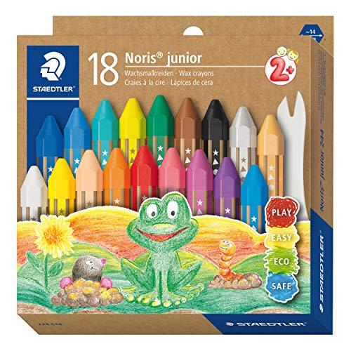 STAEDTLER 224 C18 Noris - Pastelli a cera spessa per bambini, confezione da 18 colori...