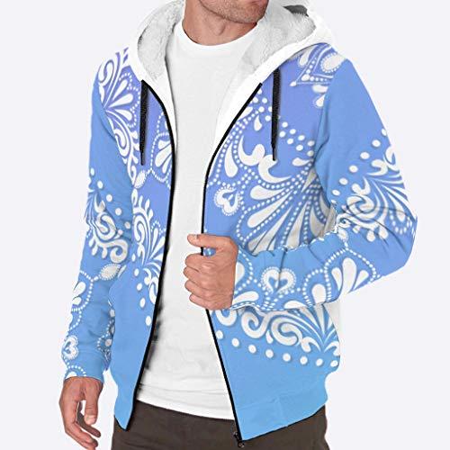 O3XEQ-8 Männer Reißverschluss Oben Super warm Vlies Kapuzenpulli Männer & Frauen Blauer weißer Mandala Logo Im Freien - Lila Kordelzug Komfort Sportbluse für Super Warm White l