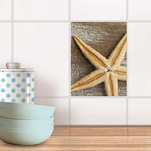 creatisto Fliesenbild für Bad und Küche I Fliesen-Folie Sticker selbstklebend I Fliesen renovieren - Fliesenfolie für Küchen- und Badfliesen I Design: Starfish