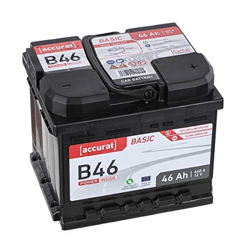 Accurat Autobatterie Starterbatterie 46Ah 12V 400A-Kaltstartstrom Blei-Säure Ca-Technologie Nassbatterie 30{d691b907492b8cf21fa660c61342b979d2ea9f7bafe8f1648207ceace66a63f7} Extra-Startleistung, wartungsfrei nach EN