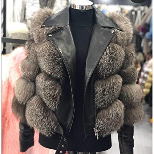 IHCIAIX Damen Daunenjacke, 2020, modischer Mantel, Silberfuchs, 5XL, Brustumfang 116 cm