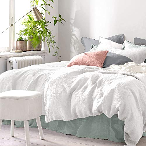 Pure Label Halbleinen Bettwäsche - Set aus Baumwolle und Leinen, Größe:2tlg. 155x220cm + 80x80cm, Farbe:Weiß/Cream