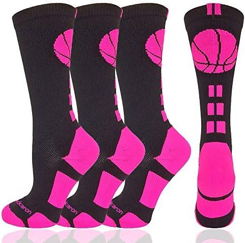 Londkaron Elite Basketball Socks with Basketball Logo 2 Pairs of Soft Light Athletic Crew Socks product image