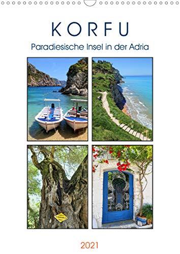 Korfu - Paradiesische Insel in der Adria (Wandkalender 2021 DIN A3 hoch)