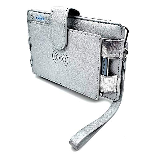 Phone Charging RFID Blocking Wallet, Qi Wireless Charging Wristlet Purse and Built In Power Bank Charger - Chargella