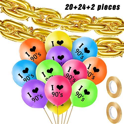 90er Jahre Party Motiven Ballon Set mit , inklusiv 20 Stück 16 Zoll Folien Ketten Ballon, 24 Stück I Love 90s Latex Ballon und 2 Rollen Goldband für 90er Jahre Hip Hop Geburtstag Hochzeit Dekoration
