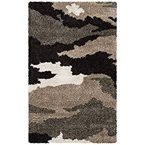 Safavieh Florida Shag Collection SG453 Camouflage 1.2-inch Thick Area Rug, 3'3″ x 5'3″, Beige / Multi