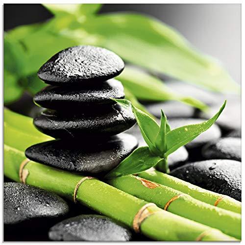 Artland Glasbilder Wandbild Glas Bild einteilig 30x30 cm Quadratisch Asien Wellness Zen Steine Lavasteine Bambus Wassertropfen Entspannung T5WD
