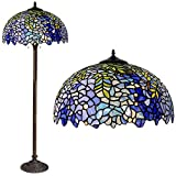 Floor Lamp, Tiffany Style Stained Glass Purple Wisteria Hanging Lamp with Handmade Lampshade, Suitable for Decorating Room (Purple, 16in)