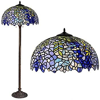 Floor Lamp Tiffany Style Stained Glass Purple Wisteria Hanging Lamp with Handmade Lampshade Suitable for Decorating Room  Purple 16in
