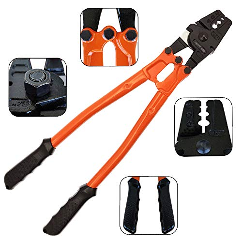 14' Cable Crimping Tool (Swaging Tool) for Stainless Steel, Copper & Aluminum Sleeves   Ferrule Crimping Tool (Swage Tool) for Aircraft Cable