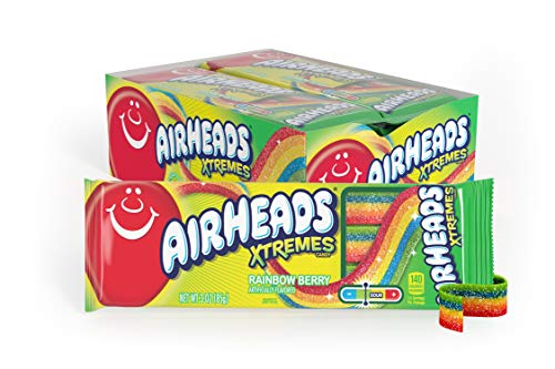Airheads Xtremes Belts Sweetly Sour Candy, Halloween Treat, Rainbow Berry, Non Melting, Bulk Movie Theater and Party Bag, 3 oz (Pack of 12) by Perfettti Van Melle