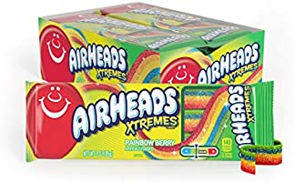 Airheads Xtremes Belts Sweetly Sour Candy, Halloween Treat, Rainbow Berry, Non Melting, Bulk Movie Theater and Party...
