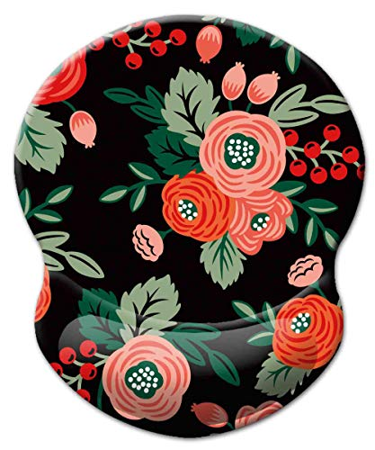 Mouse Pad with Wrist Support, Non Slip Mousepad Wrist Rest for Office, Computer, Laptop & Mac- Durable & Comfortable & Lightweight Ergonomic Support Mouse Mat (Orange Flower Black-Wrist)