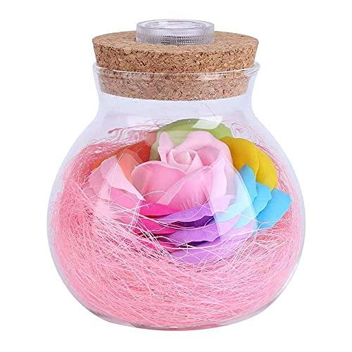 YuKeShop Botella de luz LED RGB lámpara romántica rosa botella de luz que cambia de color decoración de fiesta de boda con control remoto