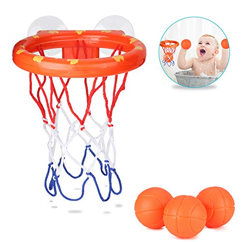 Accmor Bath Toy Baby Basketball Hoop Toddler Bathtub Basketball Hoop with 3 Balls for Boys and Girls, Suctions Cups Can Stick to Any Flat Surface