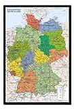 Bestrice Deutschland Karte Pinnwand–Kork Board mit Pins gerahmt in schwarz Holz inkl....