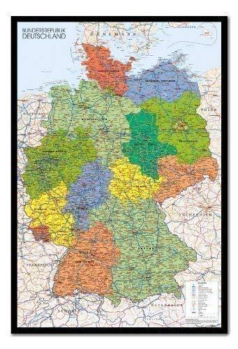 Deutschland Karte Kork in Schwarzem Holzrahmen - 96.5 X 66 CMS 38 X 26)