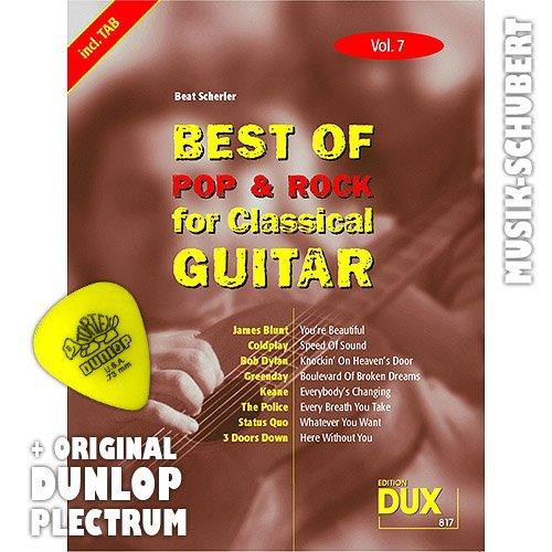 Best of Rock & Pop for Classical Guitar Vol.7 inkl. Plektrum - 8 Hits von JAMES BLUNT, GREEN DAY, THE POLICE u.a. arrangiert für Konzertgitarre als Solofassung (Noten/Tabulatur) und mit Begleitakkorden zum Mitsingen (broschiert) von Beat Scherler (Noten/Sheetmusic)