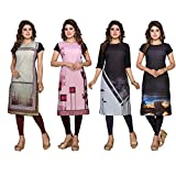 Ty Women's Crepe Straight Kurtis ( DP-10-11-12-13, Multicolor, Large)