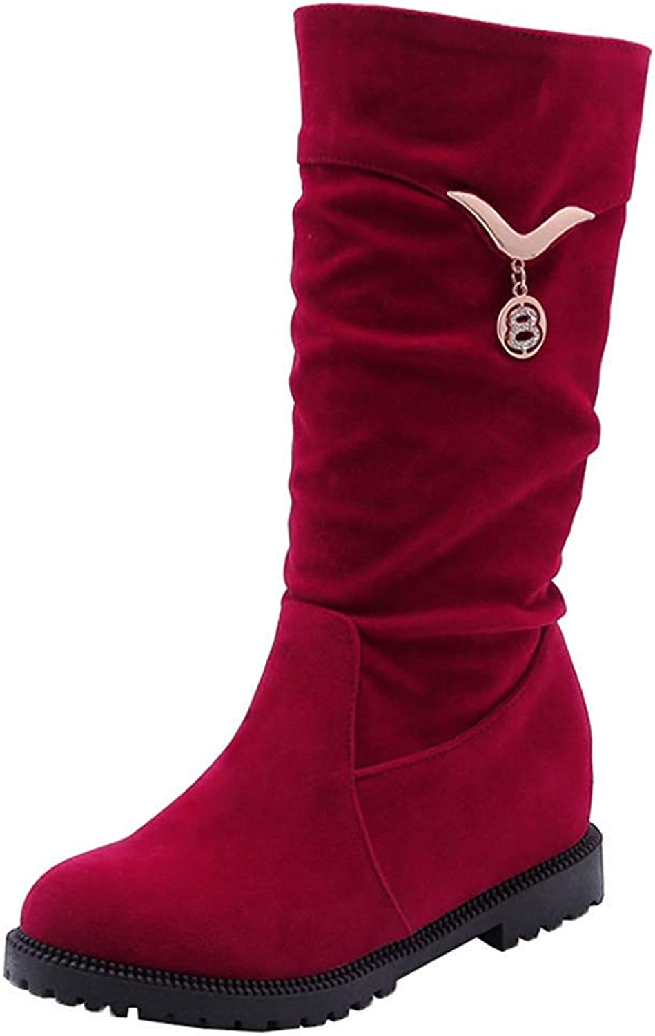 Unm Women's Comfortable Rhinestone Ruched Round Toe Elevator Mid Heel Pull On Mid Calf Slouchy Boots