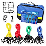 """Bungee Cords Set with Hooks, 28pc Bungee Cord kit Heavy Duty with Storage Bag, Bonus Cargo Net, Includes 40"""",32"""",24"""",18"""",10"""" Bungee Cords and Canopy Ties&Ball Bungees, with Plastic Coated Metal Hooks"""