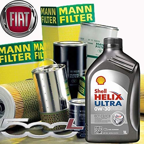 Kit révision huile moteur 5 l Shell Helix Ultra ECT C2/C3 0W-30 + filtres Mann Filter-F i A T 500 L 1.3 D Multijet /12-