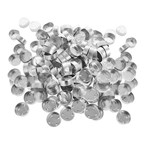 P Prettyia 200er Set Messinghalter Kerzeneinsatz - Silber, 38 x 14 mm