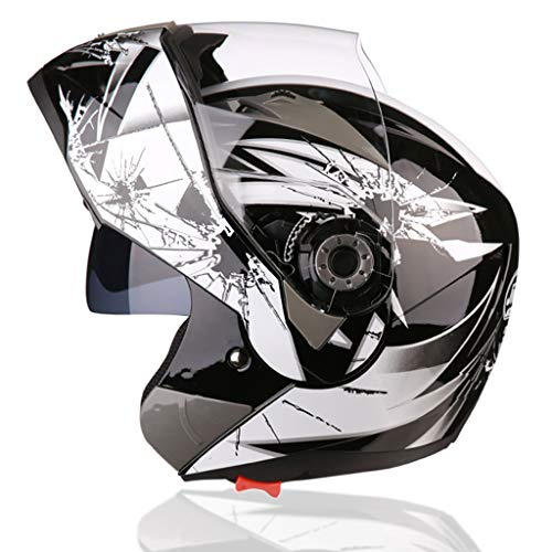 34GYP Hard hat Helmet Motorcycle Helmet Men and Women Four Seasons Universal Helmet Double Lens Full Coverage Helmet Half Helmet Multi-Color Optional Gyp (Color : White, Size : XL (58-59cm))