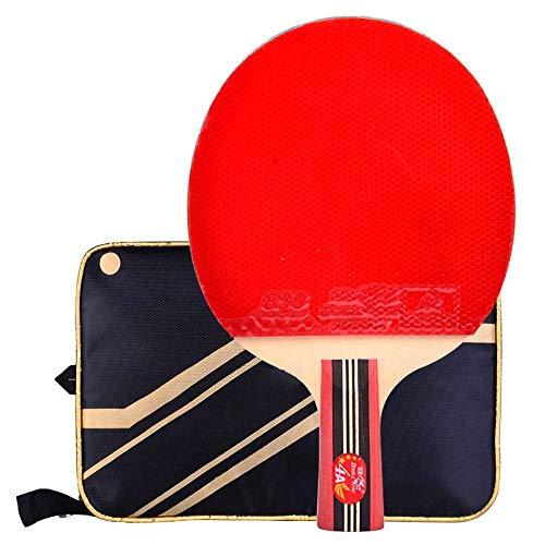Lerten Bate de Tenis de Mesa,Palas de Ping Pong Profesional 4 Estrellas Arco CíRculo Raqueta de Ataque RáPido Mango Acampanado para Juegos en Interiores Y Exteriores/A/Mango corto