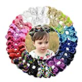 30Pcs Baby Girls Sequin Bows 3.15Inch Sparkly Glitter Hair Bows with Alligator Hair Clips Bling Hair Accessories for Girls Toddlers Kids in Pairs