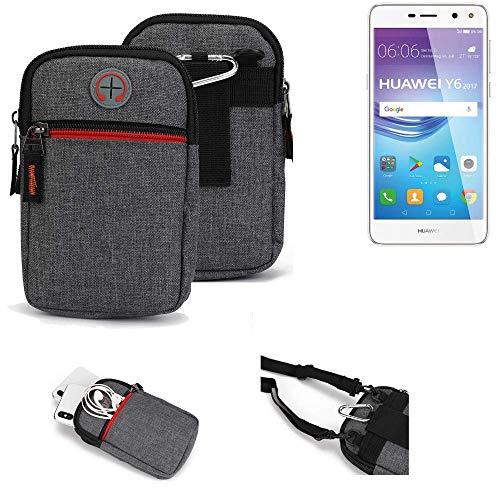 K-S-Trade® Gürtel-Tasche Für Huawei Y6 2017 Single SIM Handy-Tasche Schutz-hülle Grau Zusatzfächer 1x