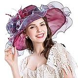 Xiang Ru Blumen-Organza-Kirchen-Sonnenschutz Sommermütze für Abend-Party für Frauen Gr. One size, burgunderfarben