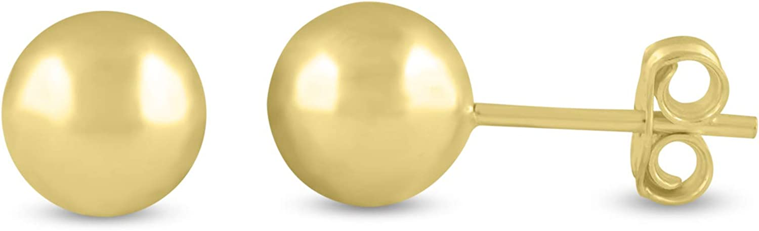 14K Yellow Gold Ball Earrings with Push Backs available in 4,6 or 7mm for Women, Teen. Comes with Complimentary Gift Box.