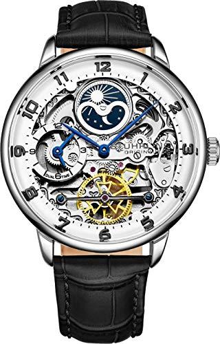 Stuhrling Original Reloj automático de Esqueleto para Hombre, Esfera analógica, Hora Dual, Am/PM Sun Moon 3925 Colección de Reloj de Pulsera para Hombre