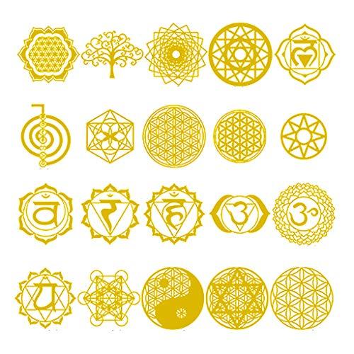 geneic 20 pegatinas de orgonita geométrica de cobre sagrada con flores y árbol de la vida, para bricolaje, pirámide de energía, material de resina epoxi