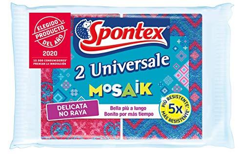 Spontex - Estropajo Universale Mosaik No Raya, Duraderos y Eficaces sin Rayar, 2 Unidades