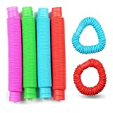 6-Pack Pop Tubes Sensory Toy, Multi-Color Stretch Pipe Sensory Toys for Kids Stress and Anxiety Relief