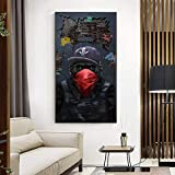 ganlanshu Mono Arte póster Animal Sala de Estar decoración en Lienzo música Gafas Auriculares en la Pared,Pintura sin marco-40X70cm