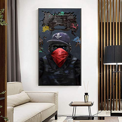 ganlanshu AFFE Kunstplakat Tier Wohnzimmer Dekoration auf Leinwand Musik Brille Kopfhörer an der Wand,Rahmenlose Malerei-70X125cm